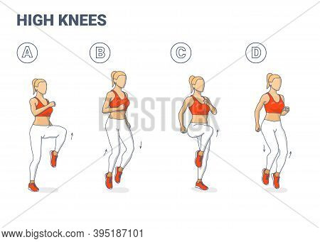 High Knees Exercise Woman Colorful Cartoon Vector Illustration Concept.