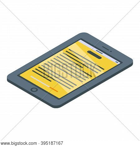 Ebook Icon. Isometric Of Ebook Vector Icon For Web Design Isolated On White Background
