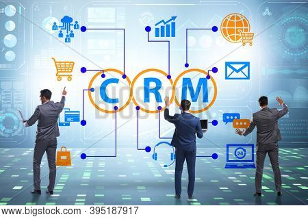 CRM custromer relationship management concept with businessman