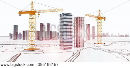 Conceptual 3d Render Of City Planning. Skyscrapers And Buildings Under Construction With Yellow Cran