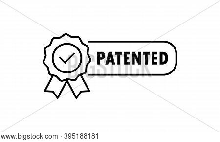 Patented Icon. Patented Product Award Icon. Registered Intellectual Property, Patent License Certifi