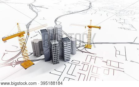 3d Illustration Of Conceptual City Planning.top View Of Office Buildings With Construction Cranes On