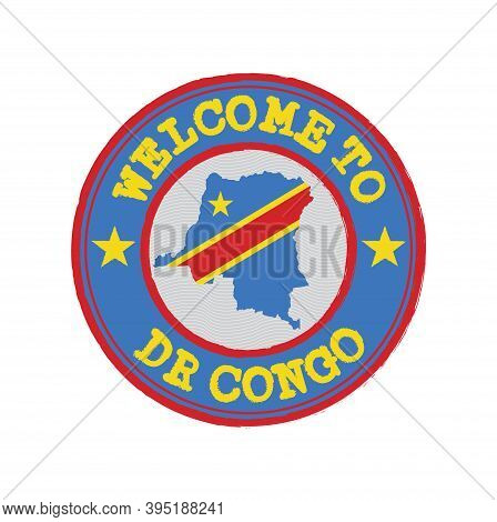 Vector Stamp Of Welcome To Dr Congo With Map Outline Of The Nation In Center. Grunge Rubber Texture