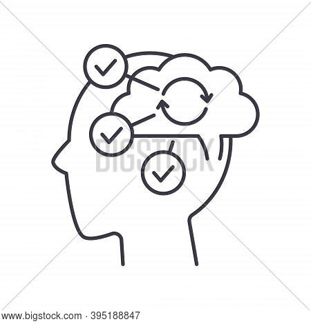 Cognitive Process Icon, Linear Isolated Illustration, Thin Line Vector, Web Design Sign, Outline Con