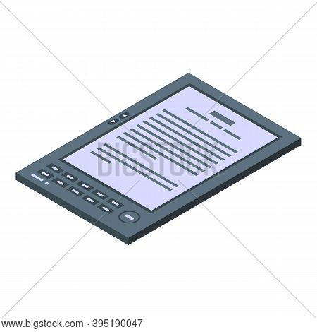 Digital Ebook Icon. Isometric Of Digital Ebook Vector Icon For Web Design Isolated On White Backgrou