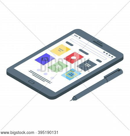 Ebook Tablet Pencil Icon. Isometric Of Ebook Tablet Pencil Vector Icon For Web Design Isolated On Wh