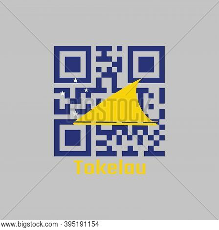 Qr Code Set The Color Of Tokelau Flag. A Light Blue Field With The Large Yellow Disk Shifted Slightl
