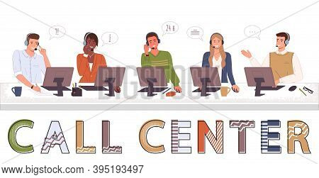 Call Center, Hotline Flat Vector. Smiling Office Workers With Headsets Cartoon Characters. Call Cent