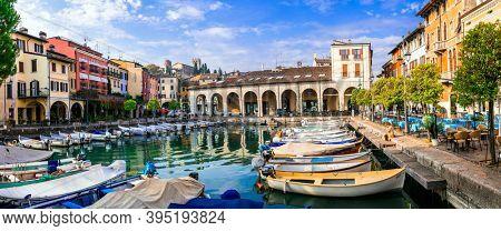 Dezenzano del Garda - charming town in lake Lago di Garda and popular tourist resort, Lombardia, Italy. november 2020
