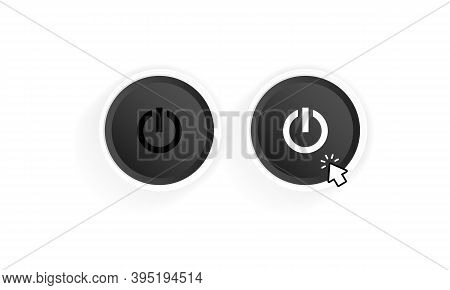 Power On Button Icon. Black Button Power. Push-button Power Of. Power With Cursor. Vector Illustrati