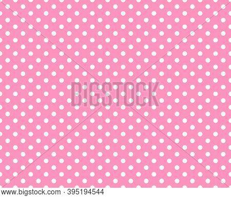 White Polka Dot Pattern Lecture On White Background. Polka Dot Seamless Pattern Background. Pink Pol