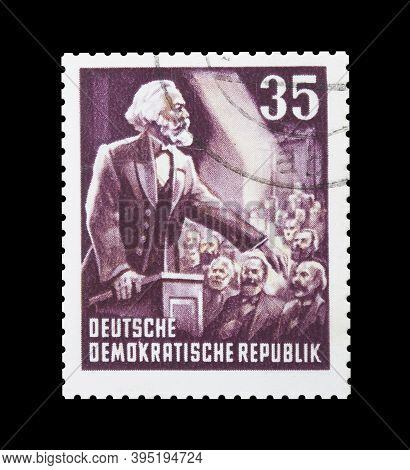 Cancelled Postage Stamp Printed By East Germany, That Shows Portrait Of German Philosopher, Sociolog