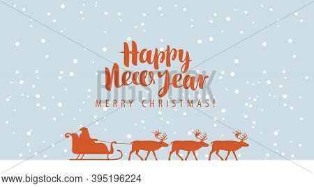 Happy New Year And Merry Christmas Greeting Card Or Banner. Vector Illustration In Cartoon Style Wit