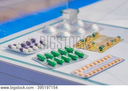 Medical Capsules, Pills, Tablets, Drugs, Meds In Blister Pack For Sale At Pharmacy Drug Store, Pharm