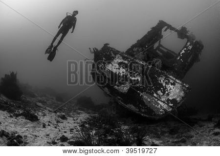 the diver and the shipwreck