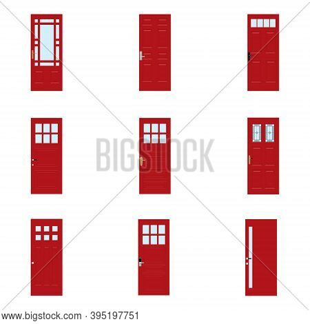 Front Doors To Houses And Buildings Set In Flat Design Style Isolated, Vector Illustration.