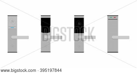 Smart Card Door Key Lock System Set, Collection In Hotel Isolated On White Background. Vector