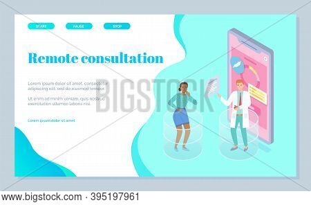Isometric Illustration Of Landing Page Online Medicine Service. Gastroenterologist Consults Worried