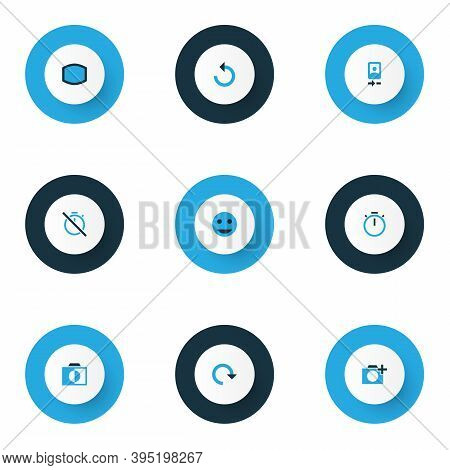 Picture Icons Colored Set With Add A Photo, Camera Front, Rotate And Other Colorless Elements. Isola