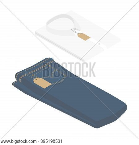 Blue Jeans And White Folded Shirt With Price Tag Isolated On White Background Isometric View. Vector