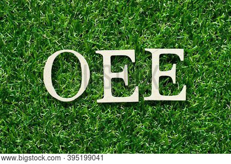 Wood Alphabet Letter In Word Oee (abbreviation Of Overall Equipment Effectiveness) On Green Grass Ba