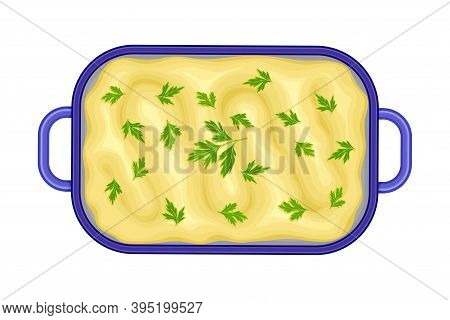 Baked Pudding In Casserole Dish Vector Illustration
