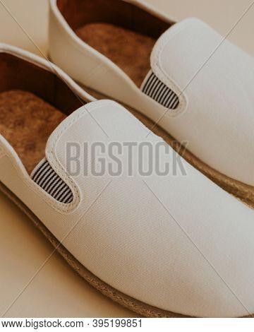 Men's white espadrilles slip-on shoes mockup