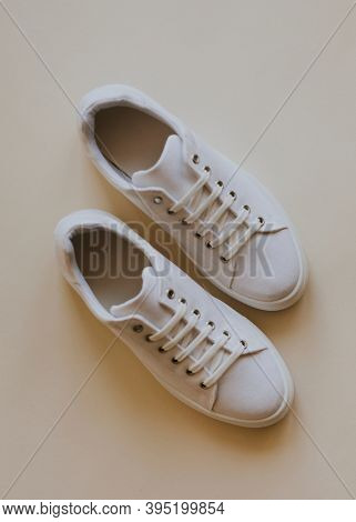 Woman's shoes white canvas sneakers