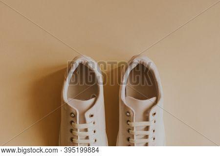 White women's canvas sneakers minimal fashion
