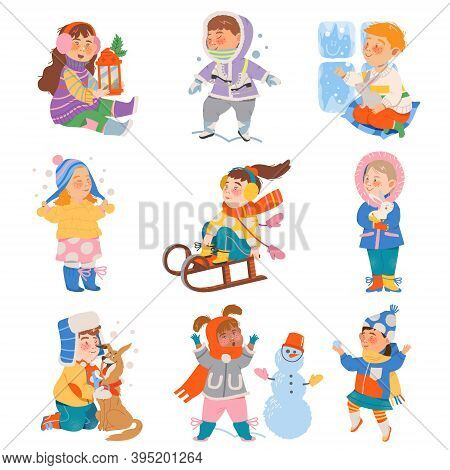 Excited Children Sledging, Building Snowman And Playing Snowballs Vector Set