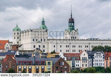 Szczecin, West Pomeranian / Poland - 2020: The Castle Of Pomeranian Dukes Against The Background Of
