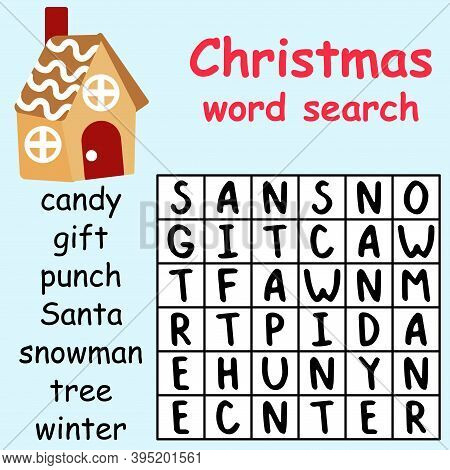 Funny Educational Christmas Word Search Puzzle Stock Vector Illustration. Find All Hidden Words In P