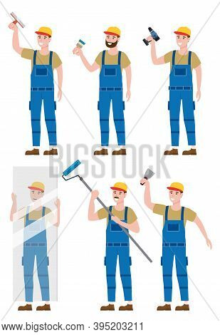Set Construction Workers With Cordless Screwdriver, Glass Sheet, Brush, Rollerbrush, Plastering Trow