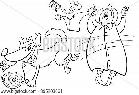 Black And White Cartoon Illustration Of Funny Naughty Dog Stealing Ham From An Old Lady Coloring Boo