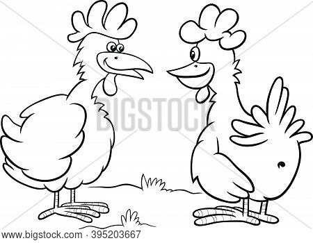 Black And White Cartoon Illustration Of Two Hens Farm Birds Characters Talking Coloring Book Page