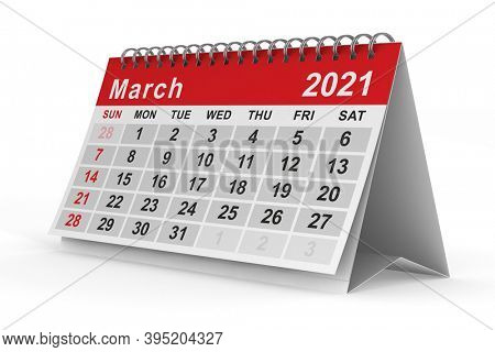 2021 year. Calendar for March. Isolated 3D illustration