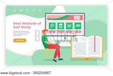 E-learning, Best Methods Of Self Study Web Page Template. Young Man Using Laptop And Tablet Pc For D