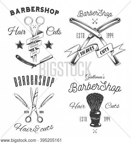 Set Of Logotype For Barbershop In Vintage Style. Barber Shop Logo Flat Vector Design Emblem With Bar