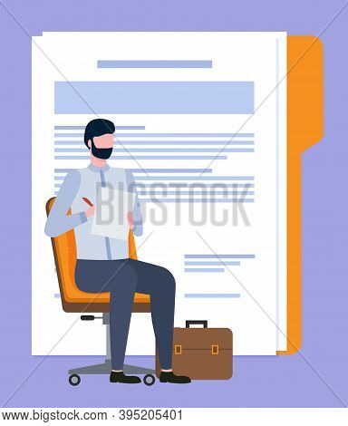 Man Worker Sitting On Chair With Pen And Paper, Employee Writing Article Or Document Report. Broker