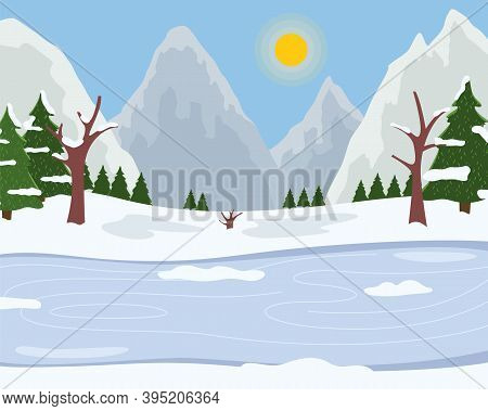 Ice On The River, Snowy Mountains, Bright Winter Sun, Clear Frosty Sky, Spruce With White Tops, Snow
