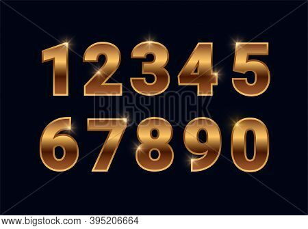 Bronze Shiny Numbers Set, Golden Font Signs Isolated On Black Background. Luxury Fashion Metallic Co