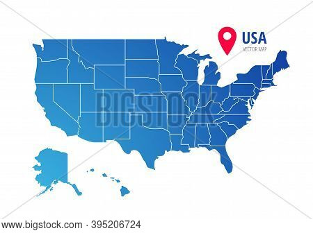 Usa Vector Map With Federal States Borders. United States Of America Country Silhouette Isolated On