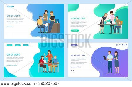 Office Work And Working Task Landing Page Template Set, Man And Woman Sitting At Desktop Holding Pap
