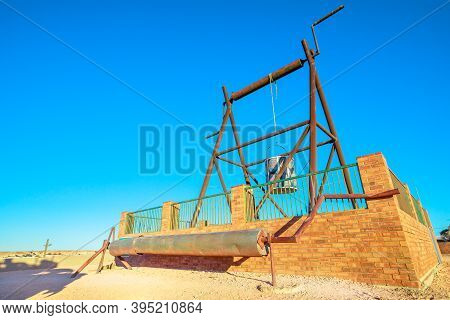 Well Of Old Mines In The Big Winch Lookout Of Coober Pedy Town In Australia. Located In South Austra