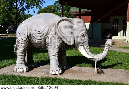 Rapid City, South Dakota, August 16, 2020: Dumbo, The Elephant Is Displayed At Storybook Island Whic
