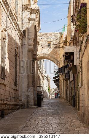 Jerusalem, Israel, October 24, 2020 : The Via Dolorosa Street In The Old City Of Jerusalem In Israel