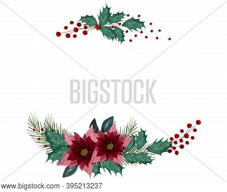 Christmas And Winter Season Greetings Design, Elegant Christmas Frame With Holly, Berries, Poinsetti