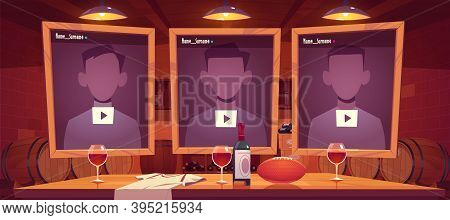 Live Streaming Background With Online Multimedia Player Windows Interface, Wine Cellar, Rugby Ball O