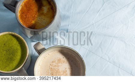 Various Vegan Cocoa Drink On Blue Background Top View. Dairy Free Beverage