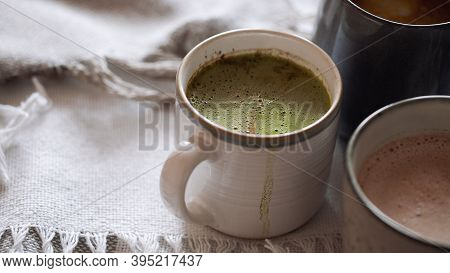 Three Cup Of Cocoa With Coconut Milk. Concept Of Cozy Winter Holidays Drink